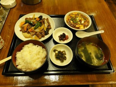 牛肉のオイスター炒め定食+麻婆豆腐