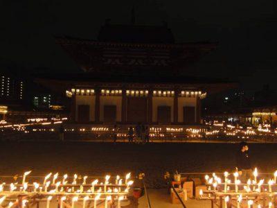 四天王寺金堂と万灯供養のロウソク