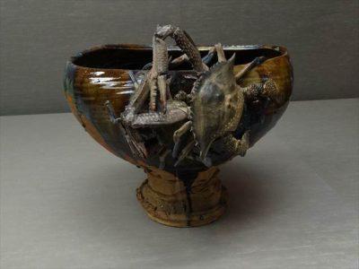 宮川香山 褐釉蟹貼付台付鉢