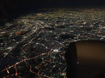 機内からの神奈川中南部の夜景