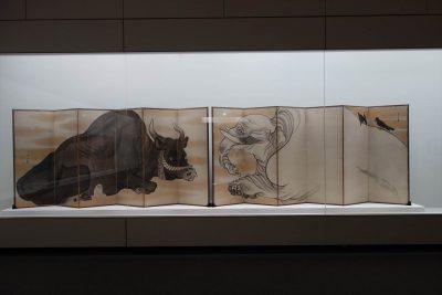 長沢蘆雪 象と牛図屏風